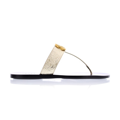 Gucci Flat Shoes Gucci marmont thong gold